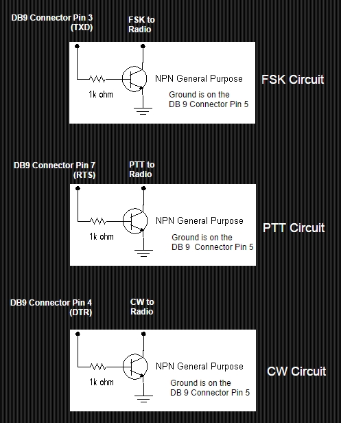 Simple FSK, PTT & CW transistor circuits.